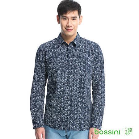 bossini男裝-印花長袖襯衫05海軍藍