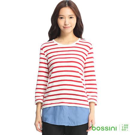 bossini女裝-拼接條紋七分袖T恤03紅