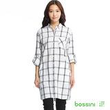 bossini女裝-格紋長版襯衫03灰白
