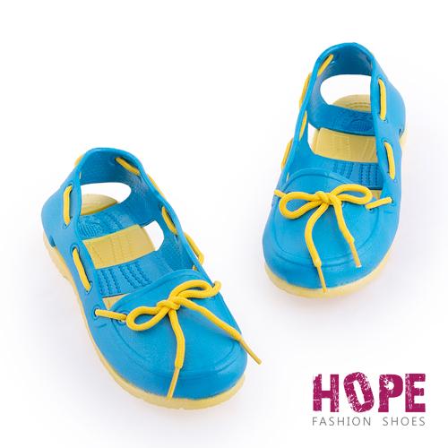 【HOPE】防水輕量後跟簍空雨鞋-藍【SMI1314】