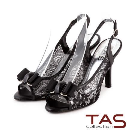 TAS 浪漫蕾絲鏤空蝴蝶結高跟涼鞋-名媛黑