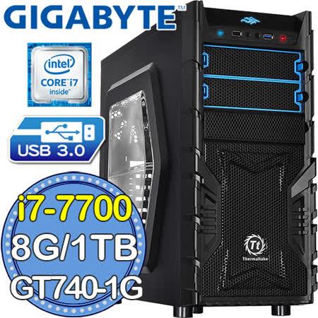 技嘉H270平台【天鷹騎士】Intel第七代i7四核 GT740-1G獨顯 1TB效能電腦