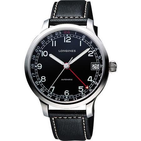 LONGINES Heritage Military1938 24小時機械腕錶-黑 L27894530