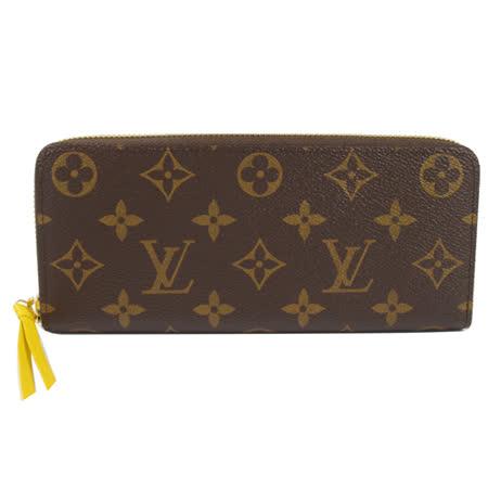 Louis Vuitton LV M61537 Clemence 經典花紋拉鍊長夾.黃_預購