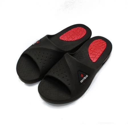 (男) ARRIBA 套式氣墊拖鞋 黑紅 鞋全家福