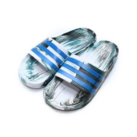 (男) ADIDAS Duramo Slide 一體成型套式拖鞋 白藍 鞋全家福