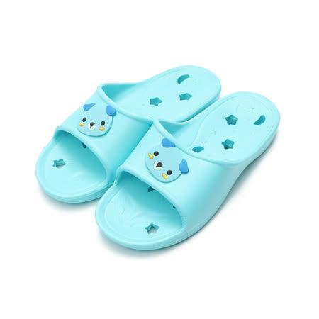 (中大童) 巧寶可愛動物排水拖鞋 藍 鞋全家福