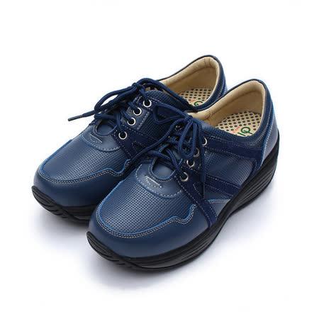 (女) 地之柏 綁帶沖孔休閒鞋 藍 鞋全家福
