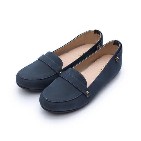 (女) Rin Rin 典雅橫帶樂福鞋 藍 鞋全家福