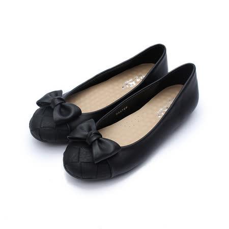 (女) Rin Rin 方格蝴蝶結包鞋 黑 鞋全家福