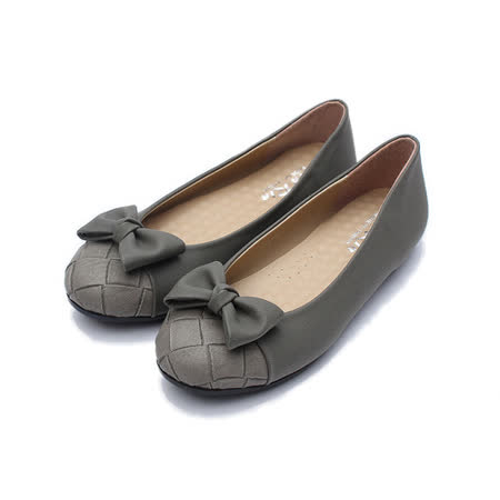 (女) Rin Rin 方格蝴蝶結包鞋 灰 鞋全家福