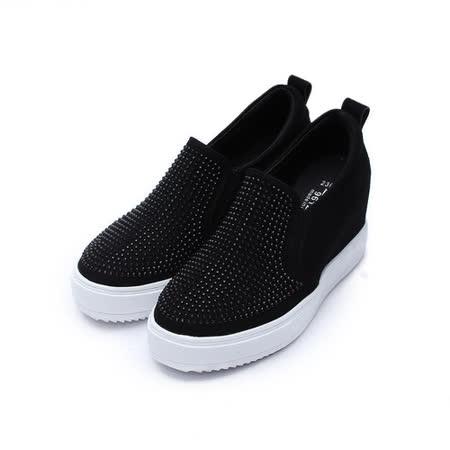 (女) DOOK 韓風水鑽面內增高鞋 黑 鞋全家福