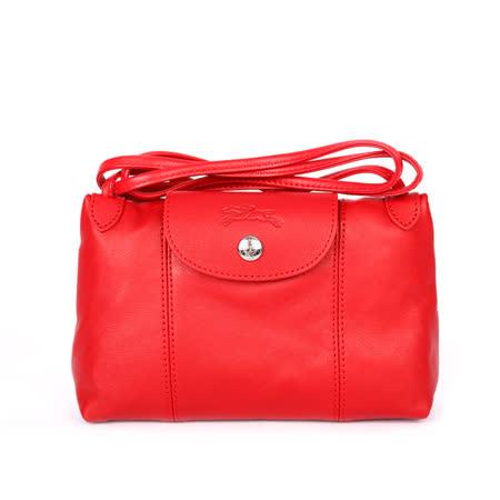 【LONGCHAMP】小羊皮斜背包(紅色)