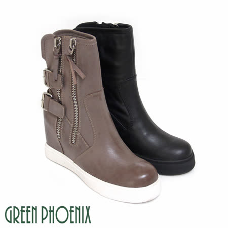 【GREEN PHOENIX】BIS-VITAL 雙排金屬扣環刷色仿舊義大利油臘牛皮拉鍊內增高短靴