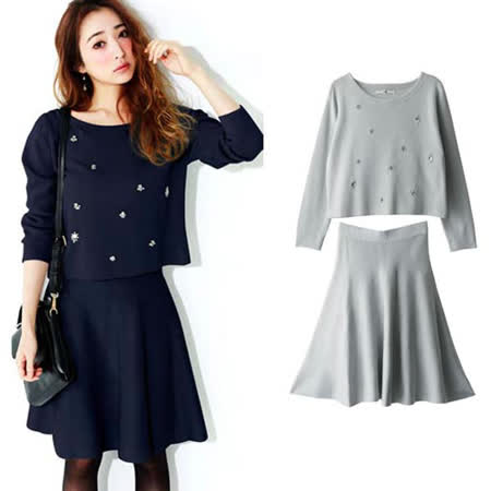日本ANNA LUNA 預購-ViVi雜誌 甜美珠寶裝飾上衣+鬆緊裙兩件組(共兩色/M-L)