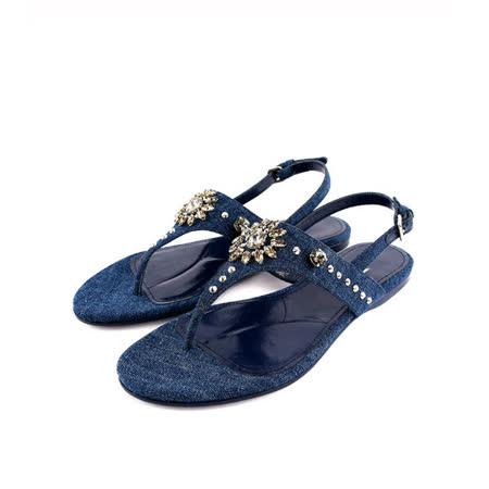 【MIU MIU】丹寧牛仔水鑽平底夾腳涼鞋(藍色)