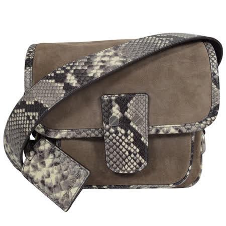 MICHAEL KORS 時尚麂皮蛇紋飾邊翻蓋小斜背包.褐/灰