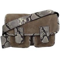 MICHAEL KORS 時尚麂皮蛇紋飾邊翻蓋雙扣斜背包.褐/灰