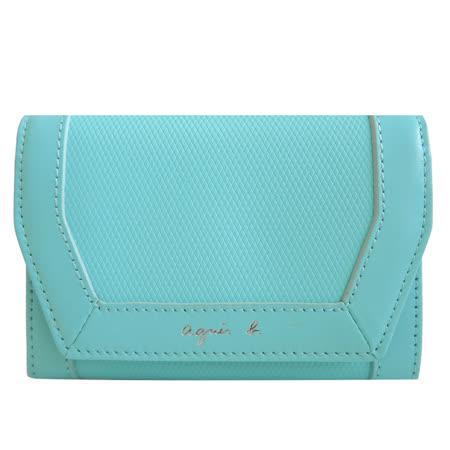 agnes b. 細菱格紋名片夾(水藍)