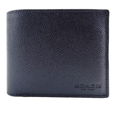 COACH 簡單素面防刮皮革男用短夾(深藍/附證件夾)