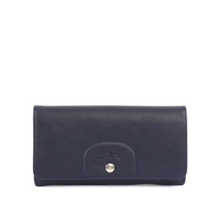 【LONGCHAMP】小羊皮對折長夾(海軍藍)