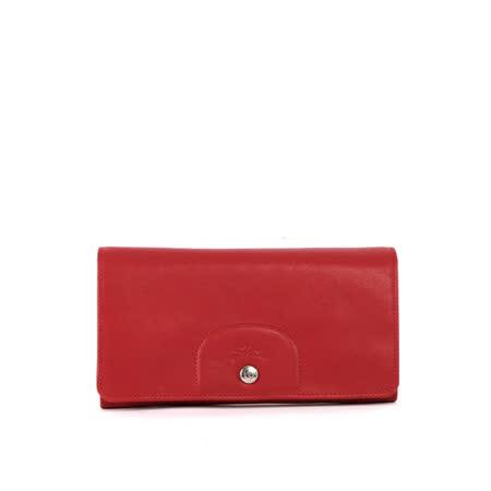 【LONGCHAMP】小羊皮對折長夾(紅色)