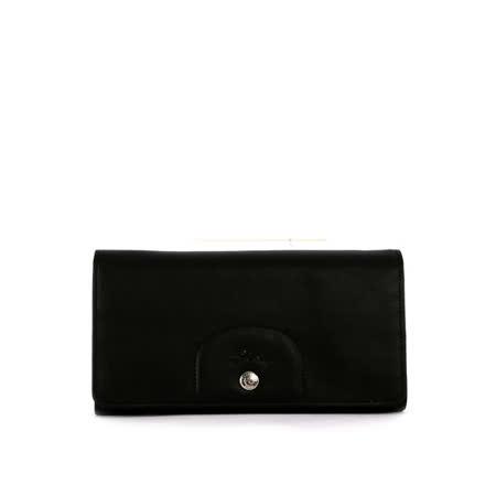 【LONGCHAMP】小羊皮對折長夾(黑色)