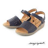 Easy Spirit--雷射雕刻鞋面厚底楔型涼鞋--夜色藍