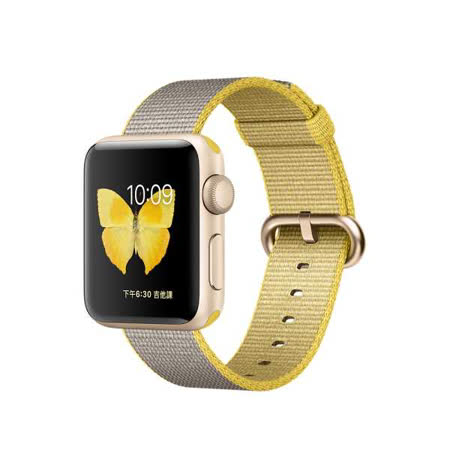Apple Watch Series 2 智慧型手錶 (38mm) /A  38公釐金色鋁金屬錶殼搭黃色配淺灰色尼龍織紋錶帶 (MNP32 TA/A)