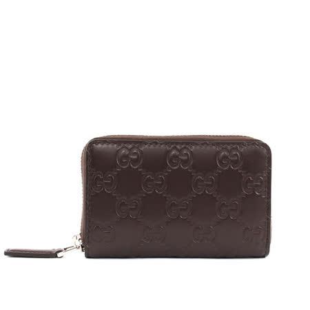【GUCCI】牛皮壓紋ㄇ型拉鏈零錢包卡夾(咖啡色)