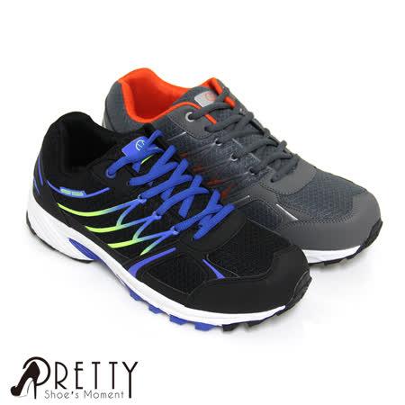 【Pretty】男款漸層網布拼接綁帶休閒運動鞋