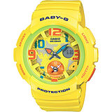 CASIO 卡西歐 Baby-G 愛旅行兩地時間腕錶-黃 BGA-190-9BDR