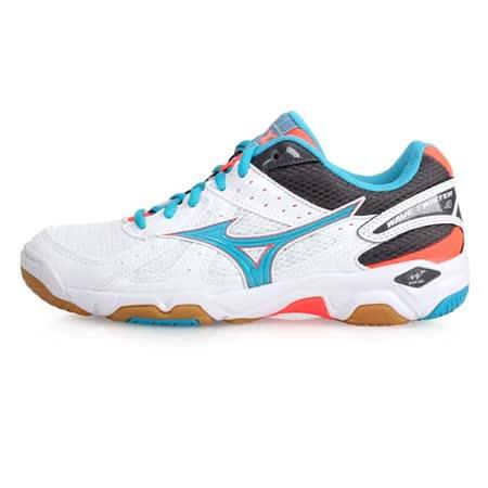 (女) MIZUNO WAVE TWISTER 4排球鞋-美津濃 白湖水藍橘
