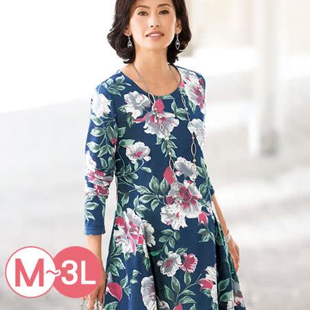 日本Portcros 預購-折縫裙擺印花長版上衣(共六色/M-3L)