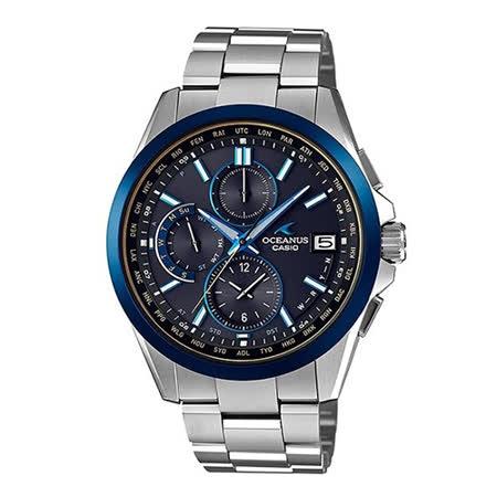 CASIO 卡西歐 OCEANUS 鈦金屬 三眼時尚電波時計腕錶/42.8mm/OCW-T2600G-1A