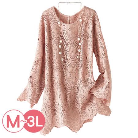 日本Portcros 預購-雅緻花邊蕾絲七分袖上衣(共兩色/M-3L)