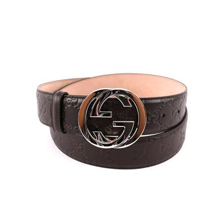 【GUCCI】雙G 銀logo牛皮壓紋皮帶 (咖啡色)