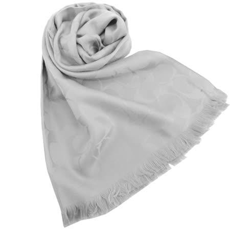COACH C LOGO 羊毛混絲流蘇圍巾(灰)