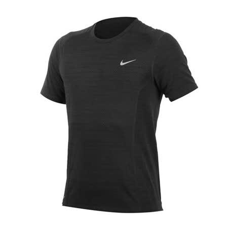 (男) NIKE 短袖針織上衣-慢跑 路跑 T恤 圓領 黑灰 M