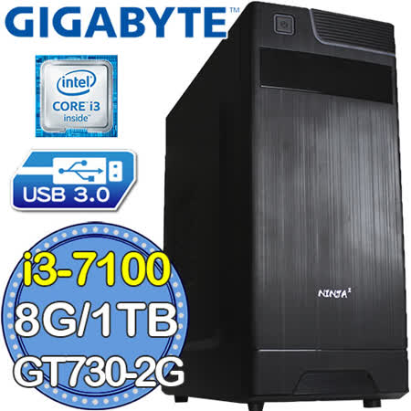 技嘉B250平台【熾焰炫光】Intel第七代i3雙核 GT730-2G獨顯 1TB效能電腦