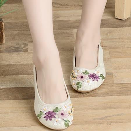 【Maya easy】輕便傳統綿麻綿織透氣女鞋-平跟型-白色-cb120