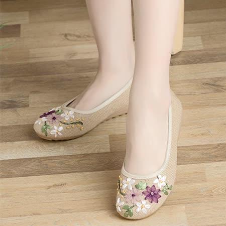 【Maya easy】輕便傳統綿麻綿織透氣女鞋-平跟型-亞麻米色-cb120