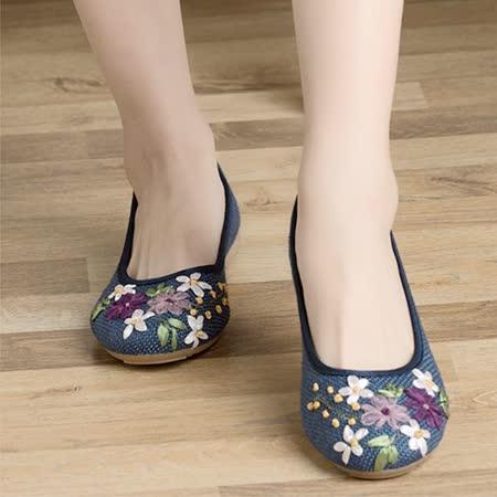 【Maya easy】輕便傳統綿麻綿織透氣女鞋-平跟型-藍色-cb120