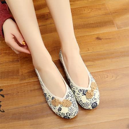 【Maya easy】輕便傳統綿麻綿織透氣女鞋-平跟型-米白色-cb121