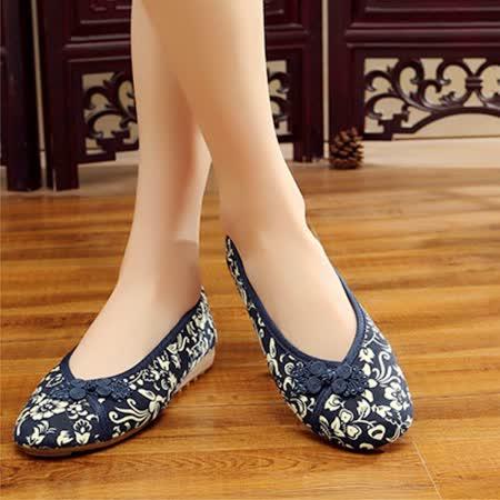 【Maya easy】輕便傳統綿麻綿織透氣女鞋-平跟型-藍色-cb121