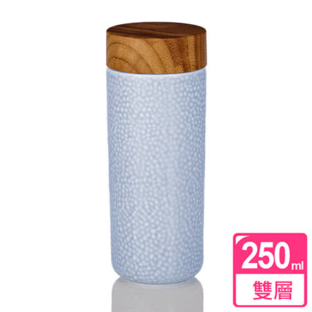 乾唐軒活瓷‧晨露隨身杯 ( 大 / 雙層 / 無光淺草藍 / 木紋蓋 )