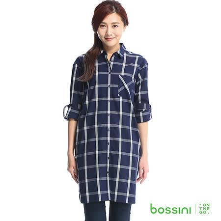 bossini女裝-格紋長版襯衫03海軍藍(品特)