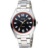 STAR 時代 城市摩登石英腕錶-黑x橘圈x銀/39mm 9T1602-231S-DO