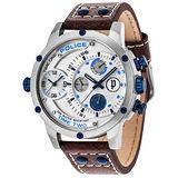 POLICE  星際戰艦雙時區時尚腕錶-14536JS-04