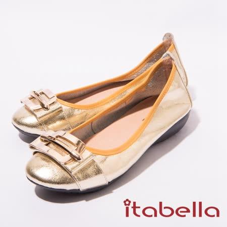 itabella.氣質款飾扣牛皮包鞋(金色)